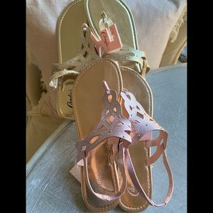 Candies Sandals - 2 pairs gold & pink